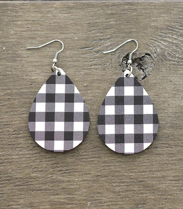 New Arrival :: Wholesale Buffalo Plaid Tear Drop Earrings