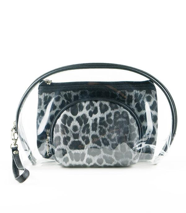 New Arrival :: Wholesale Leopard Clear Cosmetic Pouch Set