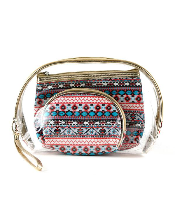 New Arrival :: Wholesale Aztec Print Clear Cosmetic Bag Set