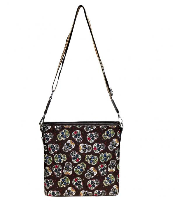 MONTANAWEST BAGS :: PICTURE CANVAS BAGS :: Wholesale Sugar Skull Canvas Crossbody Bag