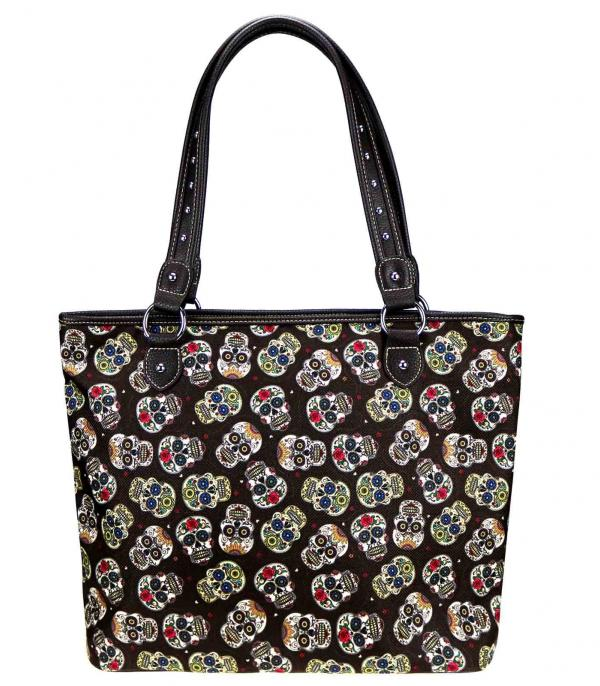 MONTANAWEST BAGS :: PICTURE CANVAS BAGS :: Wholesale Sugar Skull Canvas Tote Bag