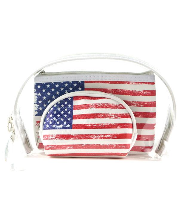 <font color=BLUE>RED,WHITE, AND BLUE</font> :: Wholesale American Flag Clear Cosmetic Pouch Set