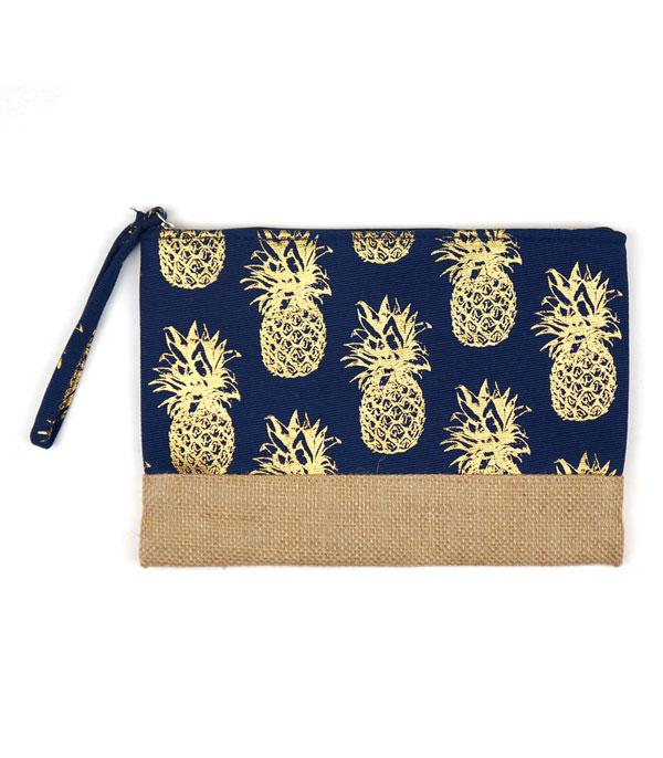 New Arrival :: Wholesale Gold Foil Pineapple Jute Pouch Bag