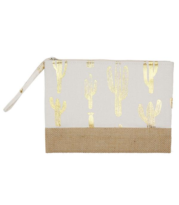 New Arrival :: Wholesale Gold Foil Cactus Jute Pouch