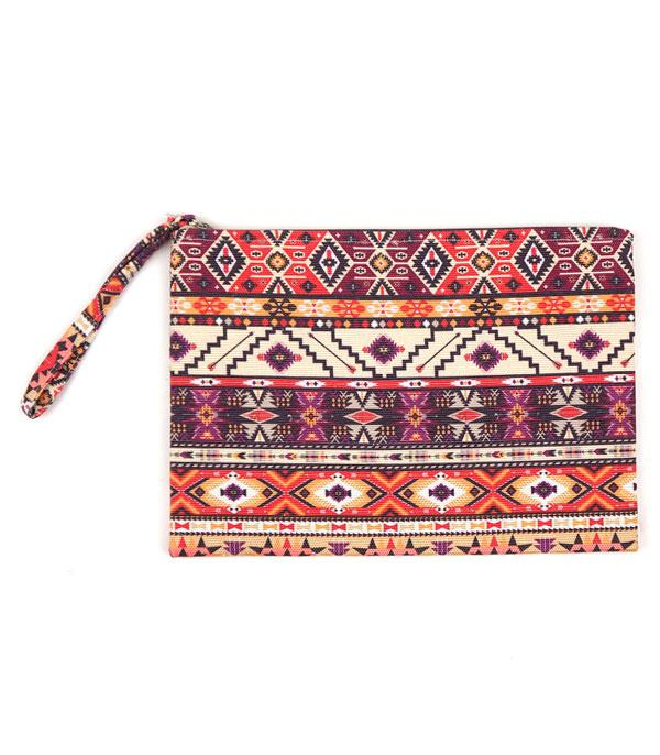 New Arrival :: Wholesale Aztec Print Jute Pouch Bag