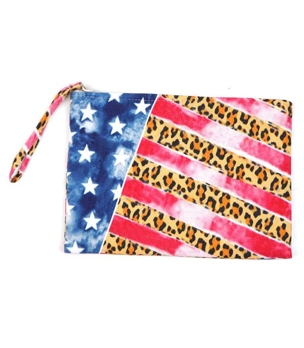<font color=BLUE>RED,WHITE, AND BLUE</font> :: Wholesale Leopard American Flag Jute Pouch