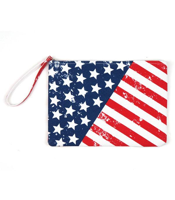 <font color=BLUE>RED,WHITE, AND BLUE</font> :: Wholesale American Flag Print Jute Pouch