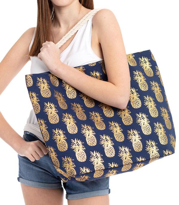 New Arrival :: Wholesale Pineapple Gold Foil Beach Tote
