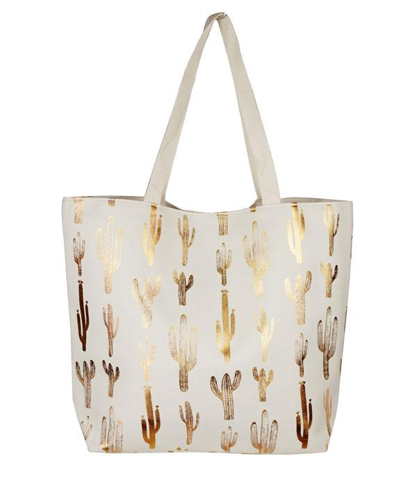 New Arrival :: Wholesale Gold Foil Cactus Print Tote