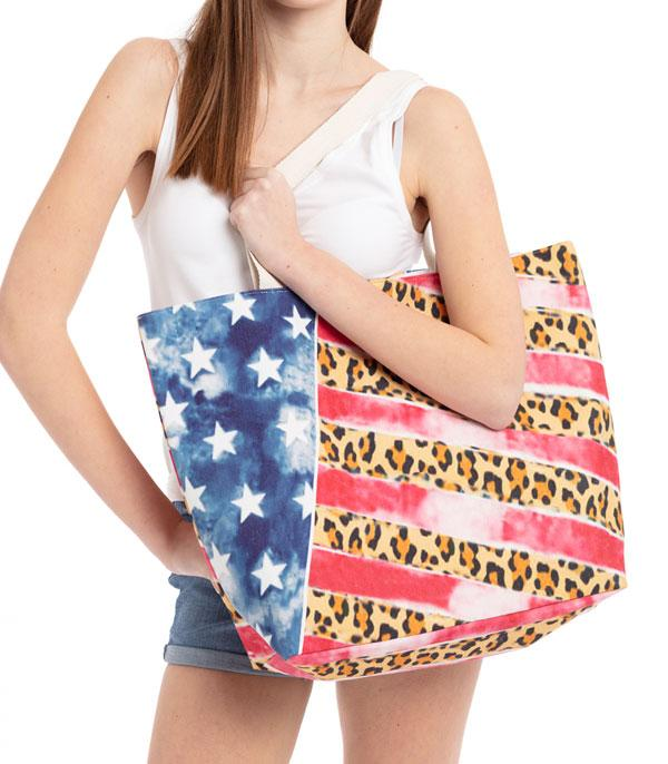<font color=BLUE>RED,WHITE, AND BLUE</font> :: Wholesale Leopard American Flag Print Tote