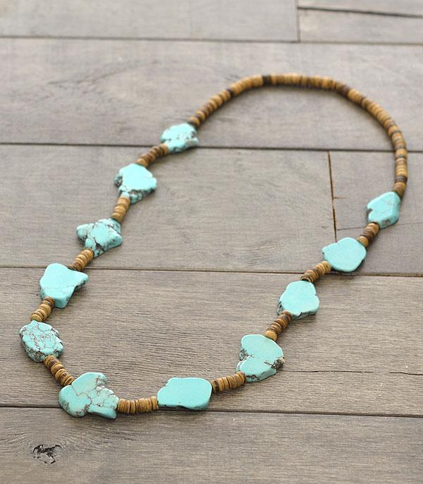 <font color=Turquoise>TURQUOISE JEWELRY</font> :: Wholesale Turquoise Stone w/Wood Beads Necklace