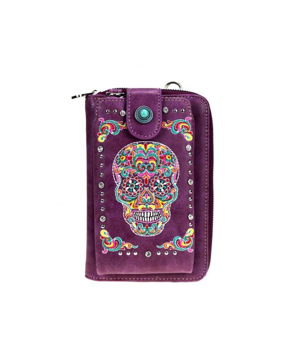 New Arrival :: Wholesale Sugar Skull Phone Wallet Crossbody Bag