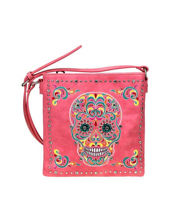 New Arrival :: Wholesale Sugar Skull Concealed Crossbody Bag