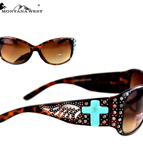New Arrival :: Wholesale Turquoise Cross Bling Sunglasses