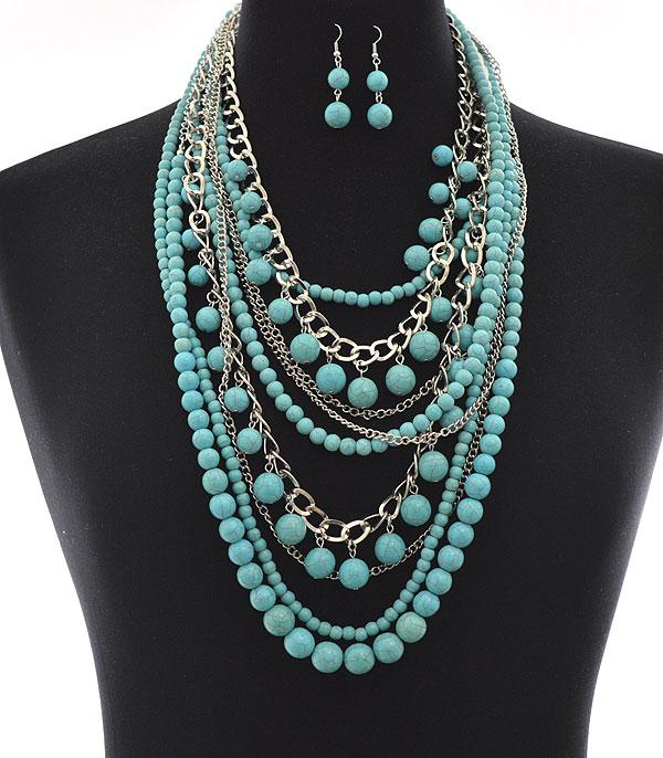 <font color=Turquoise>TURQUOISE JEWELRY</font> :: Wholesale Multi Layered Turquoise Necklace