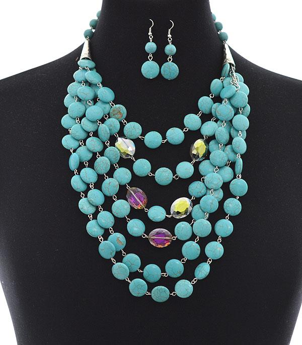<font color=Turquoise>TURQUOISE JEWELRY</font> :: Wholesale Turquoise Stone Cluster Necklace