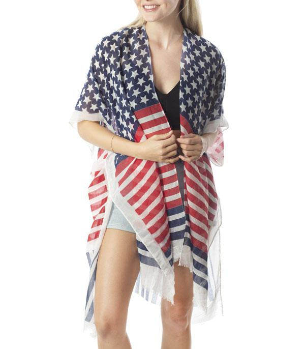 <font color=BLUE>RED,WHITE, AND BLUE</font> :: Wholesale American Flag Kimono