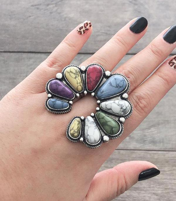 <font color=Turquoise>TURQUOISE JEWELRY</font> :: Wholesale Squash Blossom Stone Ring