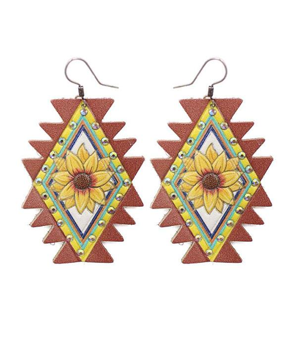 New Arrival :: Wholesale Aztec Shape Leather Earrings