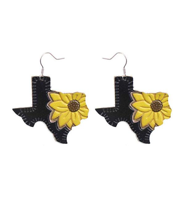 New Arrival :: Wholesale Texas Map Leather Earrings