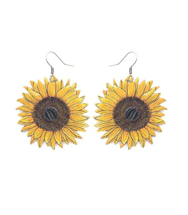 New Arrival :: Wholesale Leather Sunflower Earrings