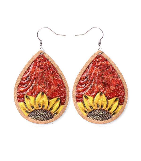 New Arrival :: Wholesale Sunflower Teardrop Leather Earrings