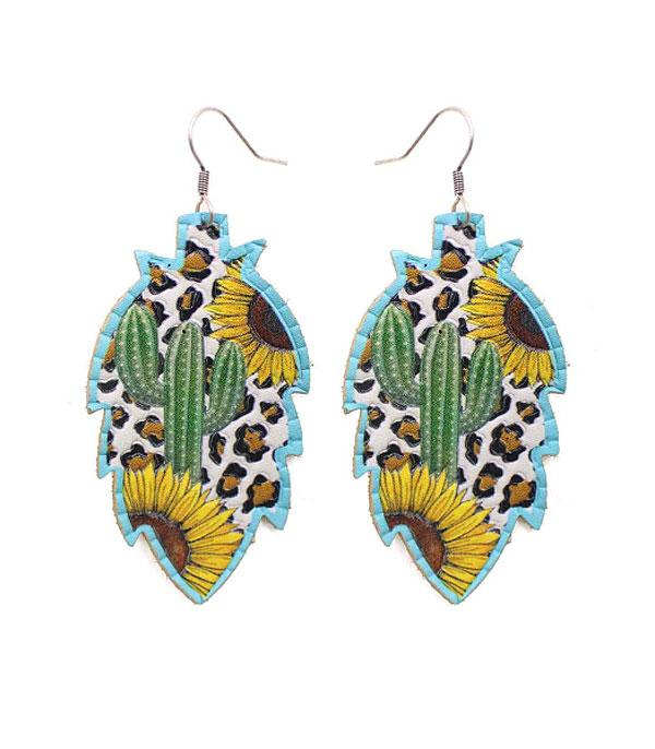 New Arrival :: Wholesale Sunflower Cactus Leather Earrings