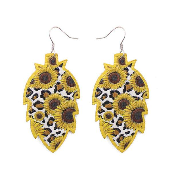 New Arrival :: Wholesale Sunflower Leopard Leather Earrings