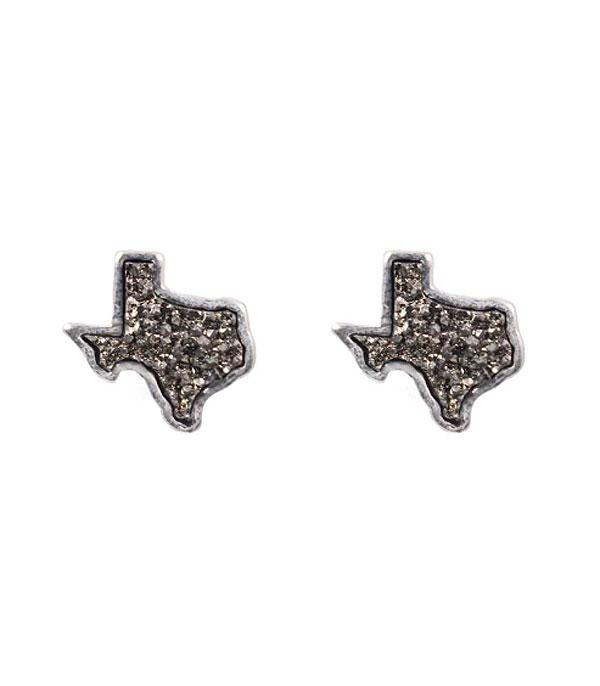 New Arrival :: Wholesale Druzy Glitter Texas Map Earrings