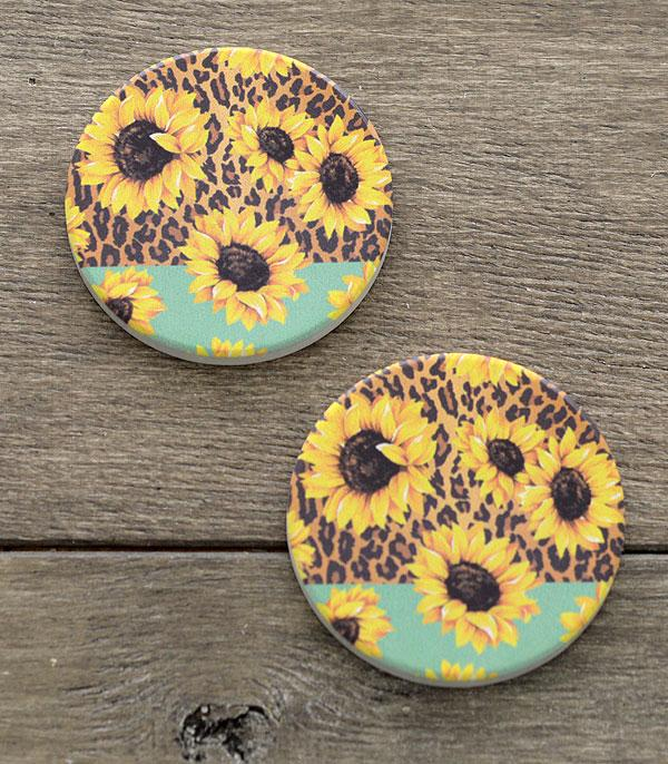 New Arrival :: Wholesale Sunflower Print Car Coaster Set