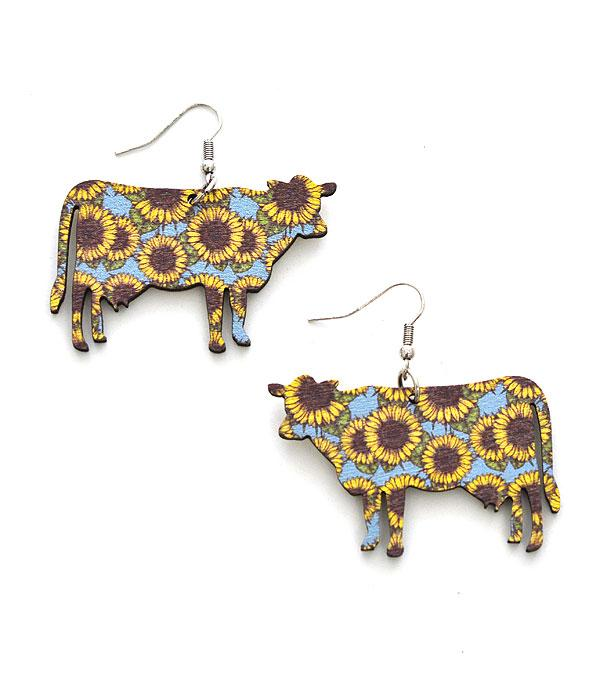 New Arrival :: Wholesale Sunflower Print Cow Wooden Earrings
