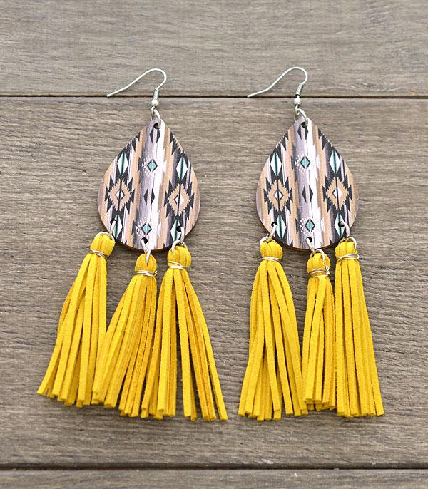 New Arrival :: Wholesale Aztec Navajo Teardrop Tassel Earrings