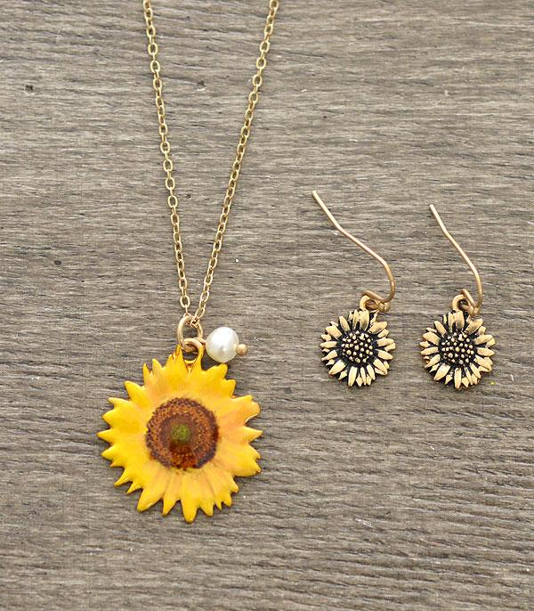 New Arrival :: Wholesale Sunflower Pendant Necklace Set