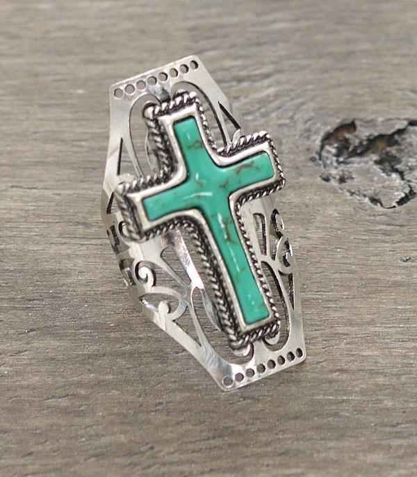 New Arrival :: Wholesale Turquoise Cross Statement Ring
