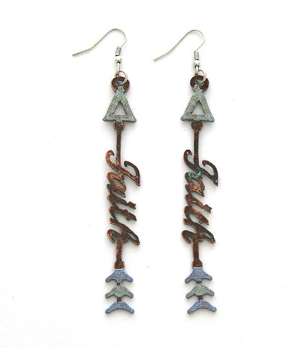New Arrival :: Wholesale Rustic Faith Arrow Earrings
