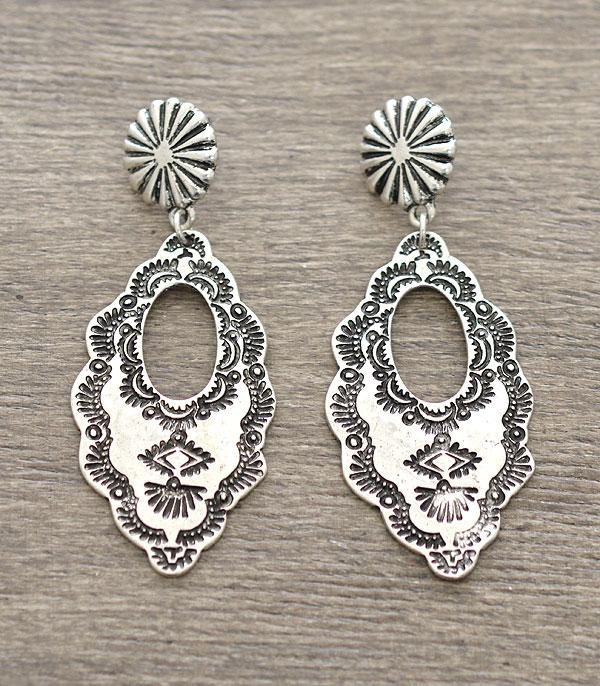 New Arrival :: Wholesale Western Silver Plated Statement Earrings