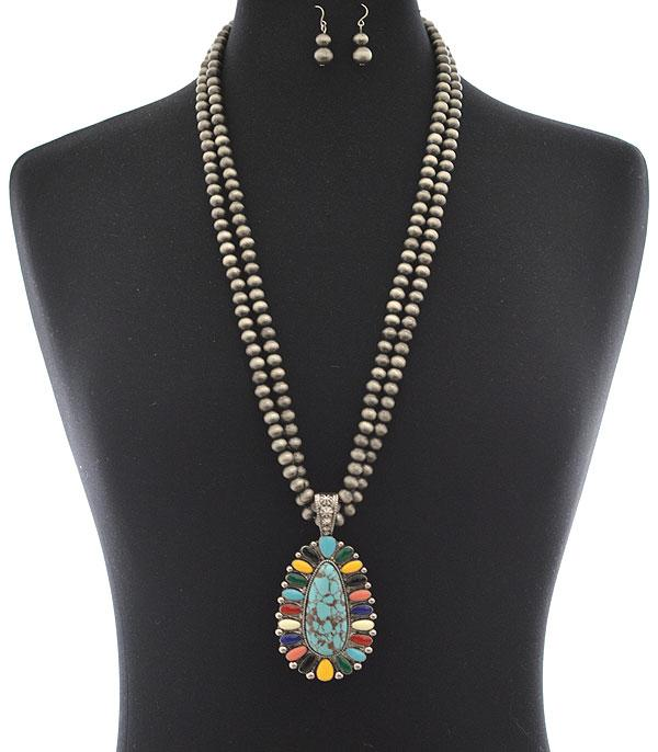 New Arrival :: Wholesale Navajo Turquoise Teardrop Long Necklace