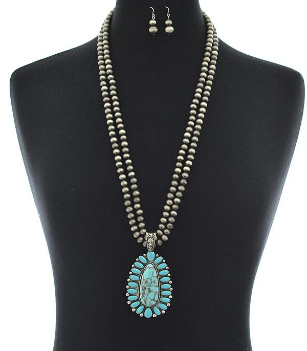New Arrival :: Wholesale Navajo Pearl Turquoise Pendant Necklace
