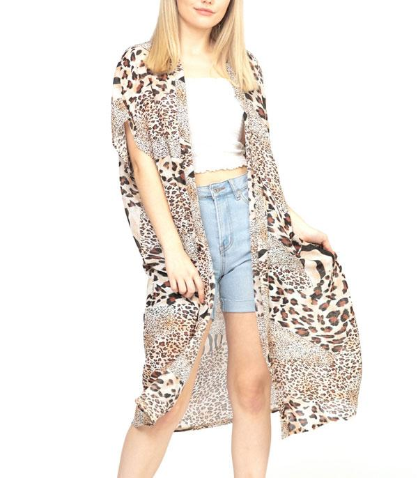 New Arrival :: Wholesale Mixed Animal Print Kimono