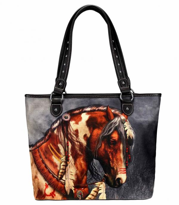 MONTANAWEST BAGS :: PICTURE CANVAS BAGS :: Wholesale Montana West Horse Canvas Tote