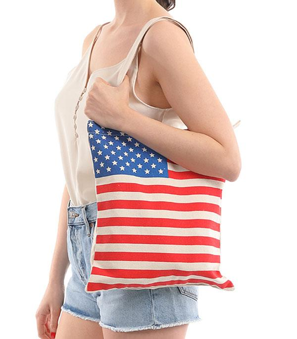 <font color=RED>RED,WHITE, AND BLUE</font> :: Wholesale American Flag Print Canvas Tote