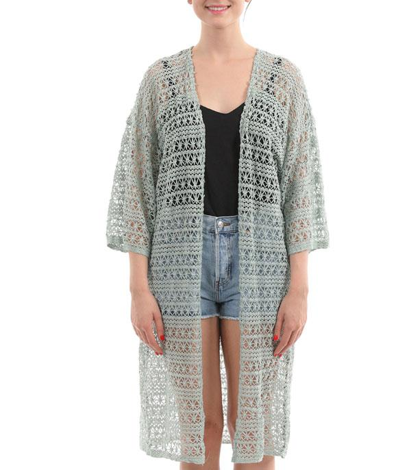 New Arrival :: Wholesale Crochet Long Kimono Coverup