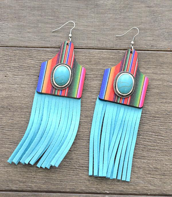 New Arrival :: Wholesale Serape Cattle Tag Tassel Earrings