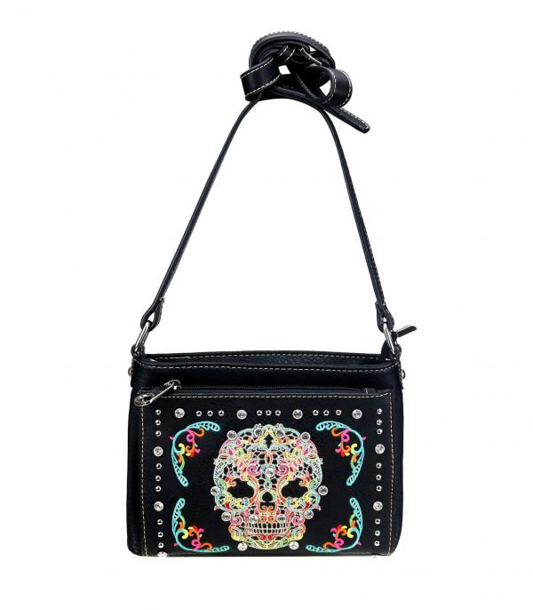 New Arrival :: Wholesale Sugar Skull Embroidered Crossbody Bag