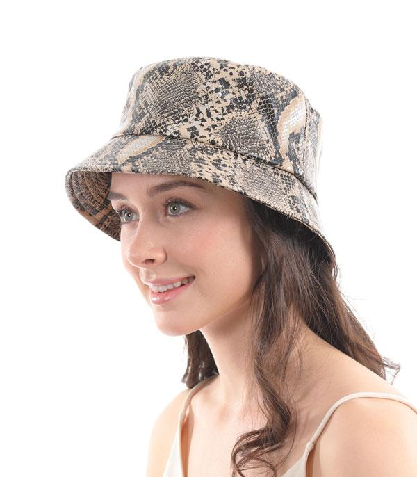 New Arrival :: Wholesale Python Print Bucket Hat