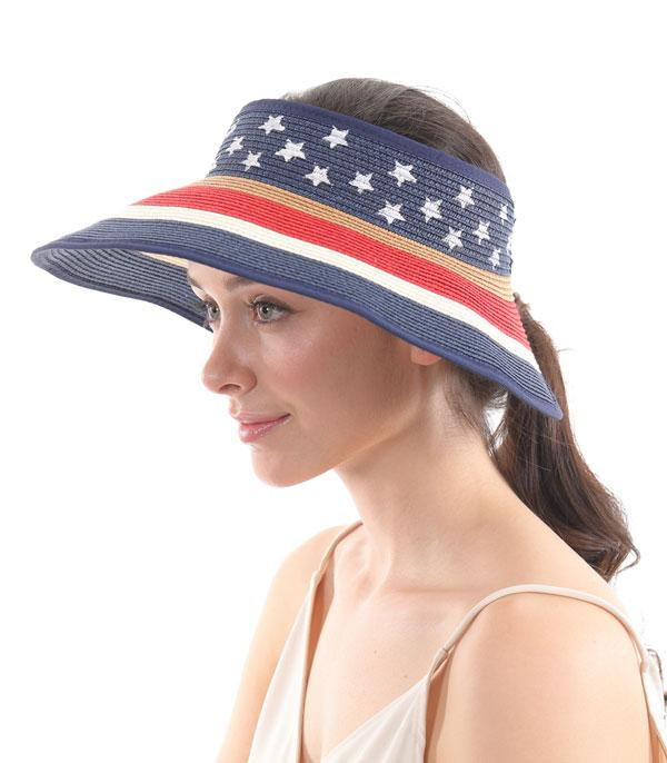 New Arrival :: Wholesale American Flag Roll-Up Straw Hat