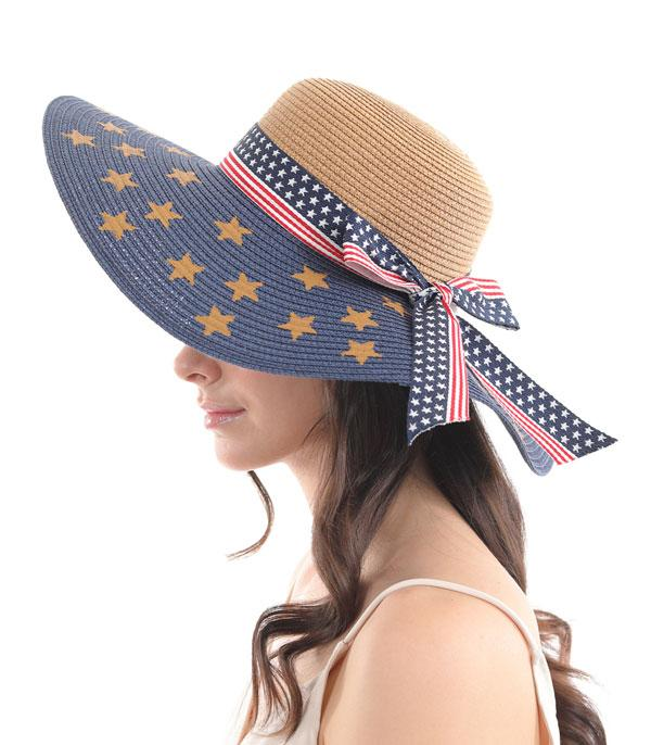 <font color=RED>RED,WHITE, AND BLUE</font> :: Wholesale American Flag Straw Hat