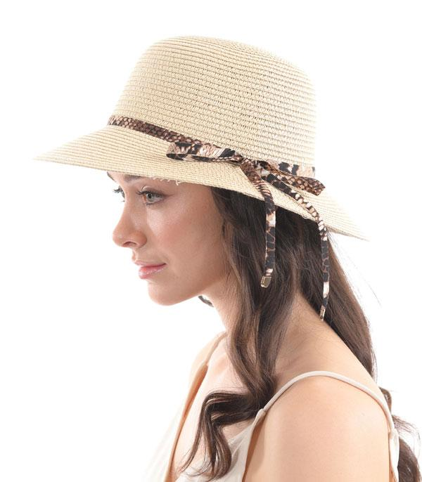 New Arrival :: Wholesale Python Trim Summer Clochet Hat