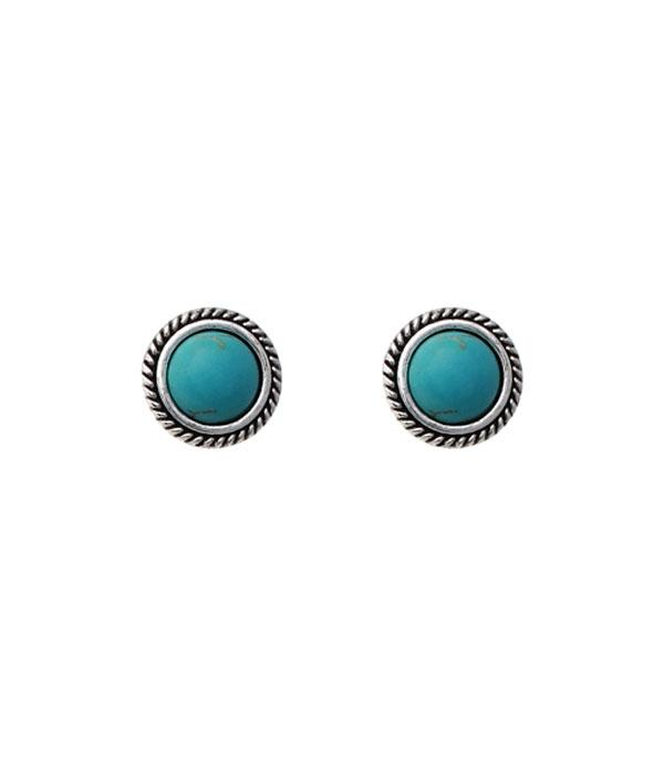New Arrival :: Wholesale Round Turquoise Stud Earrings