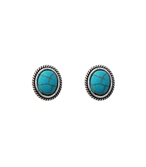 New Arrival :: Wholesale Oval Turquoise Stud Earrings